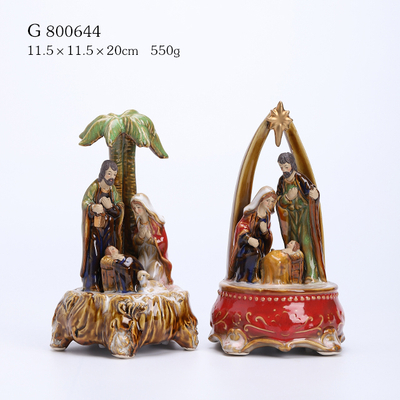 2/A Porcelain Nativity Family Scene with Turning Key Music