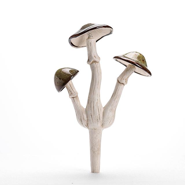 Ceramic 3-tier glazed mushrooms