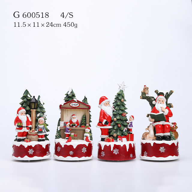4/A Polyresin Santa With Tree Music Movement