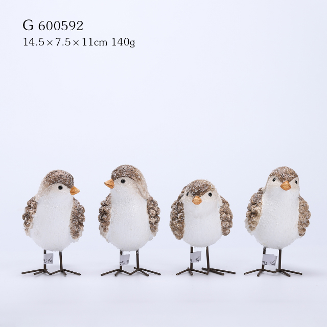 4/A Polyresin Birds with Metal Legs