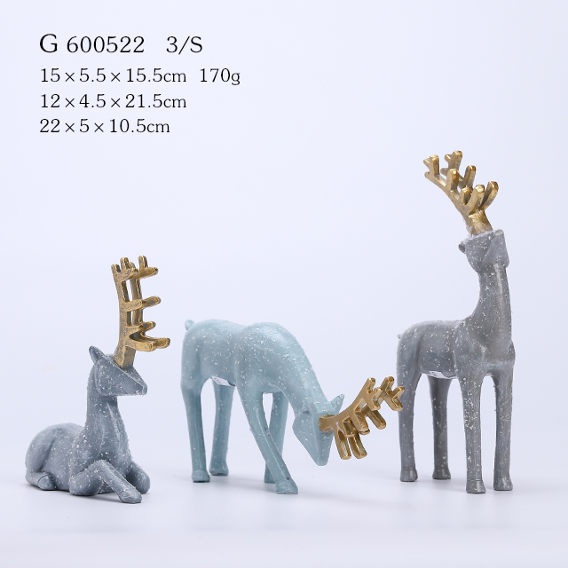 S/3 Polyresin Christmas Deer