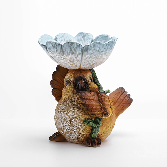 4/A Polyresin Bird with Flower on Top Birdfeeder