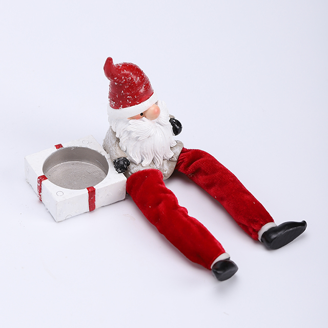 Polyresin Santa with Candle Holder