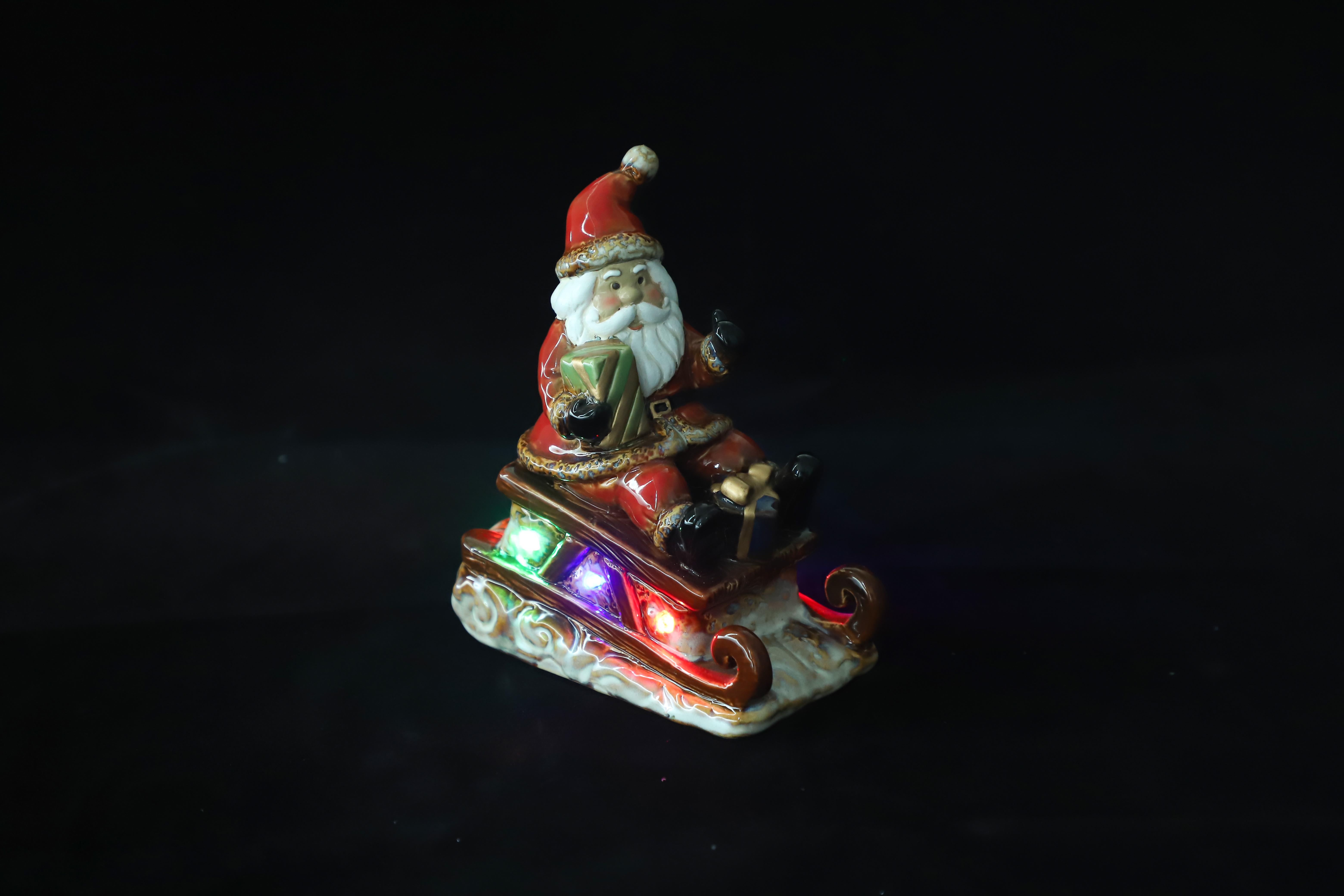 "Lighted Comfy Hour 5"" Festive Christmas Santa Sitting in Sled"
