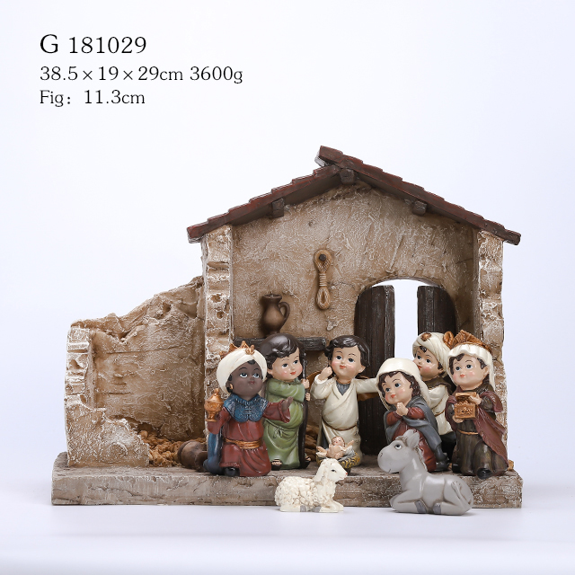 11/S POLY NATIVITY SET WITH CRECHE